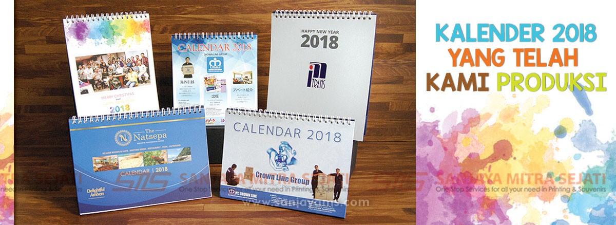 Hasil cetakan Kalender 2018, Percetakan Sanjaya - Jakarta