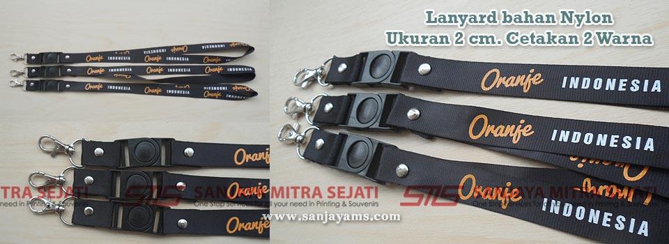 Lanyard bahan Nylon Hitam 2 cm Oranje Indonesia