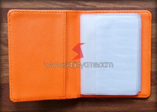 Dompet kartu bahan kulit orange