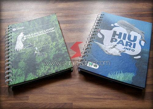 Hasil cetak design pada memo hard cover