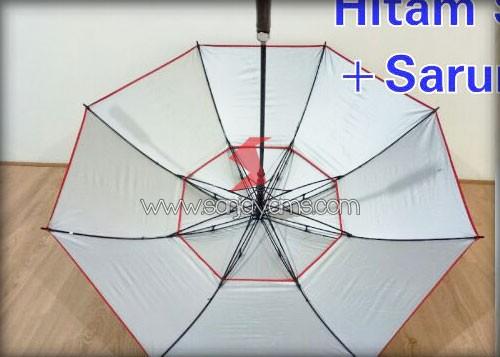 Rangka terbuat dari Fiber, sehingga kualitas payung lebih kuat