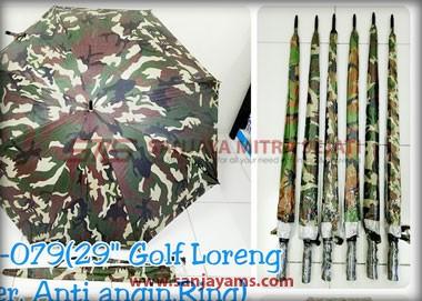 Payung army tertutup dan terbuka