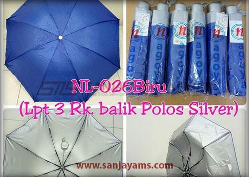 Payung lipat 3 warna biru