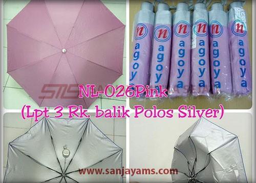 Payung lipat 3 warna pink