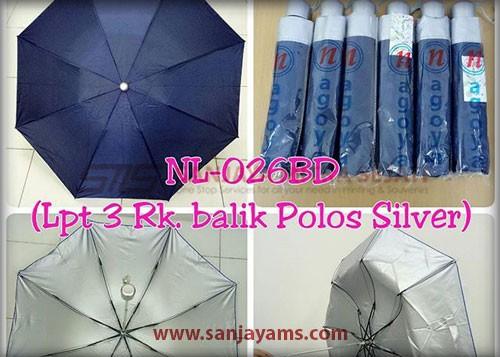 Payung lipat 3 warna biru dongker