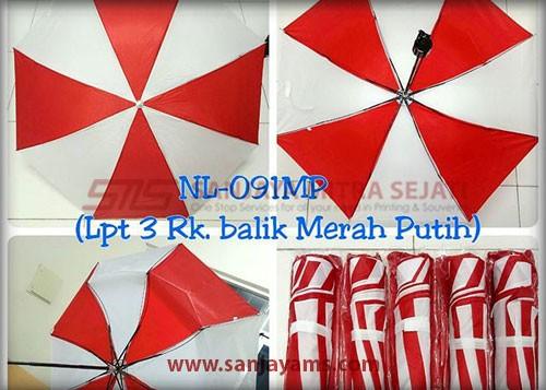 Payung lipat 3 warna merah putih
