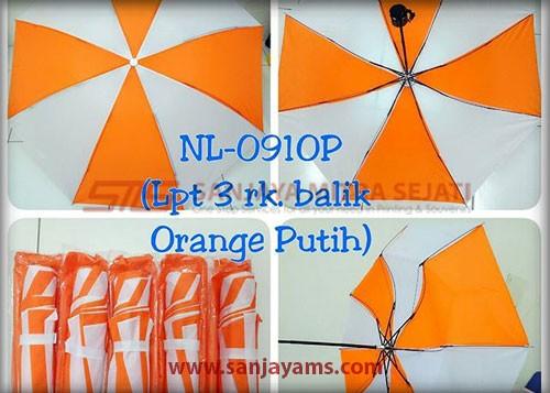 Payung lipat 3 warna orange putih