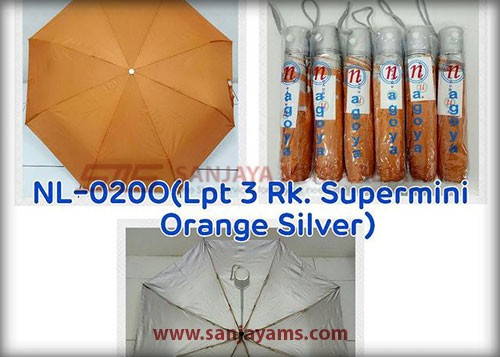 Payung lipat 3 warna orange
