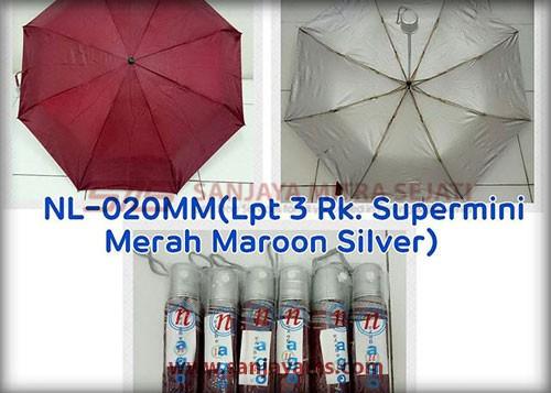 Payung lipat 3 warna merah maroon