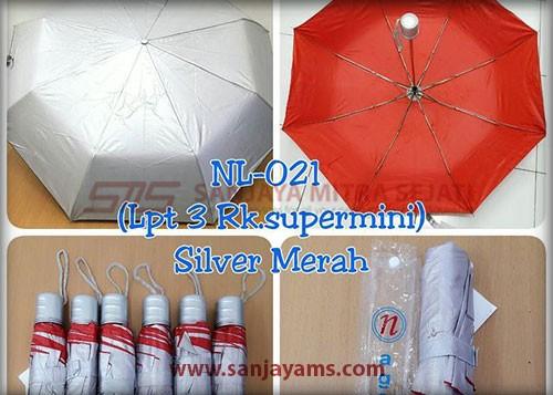 Payung lipat 3 NL-021 warna Silver Merah