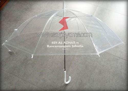 Cetak sablon 1 warna (putih) di payung sekolah Al Azhar