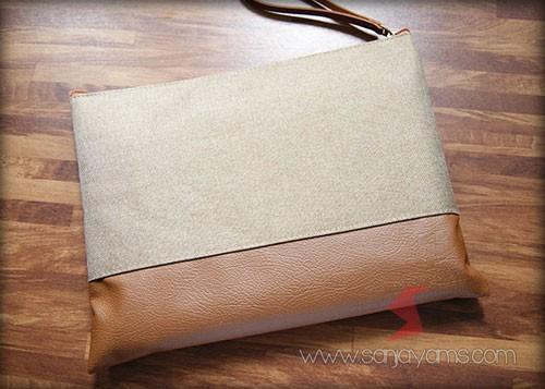 Pouch Bag Jeans warna Cokelat