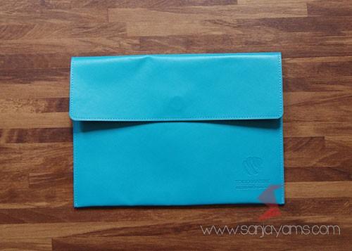 Hasil Cetak logo pouch kulit