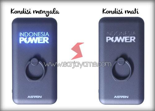 Kondisi apabila power bank menyala dengan logo Indonesia Power