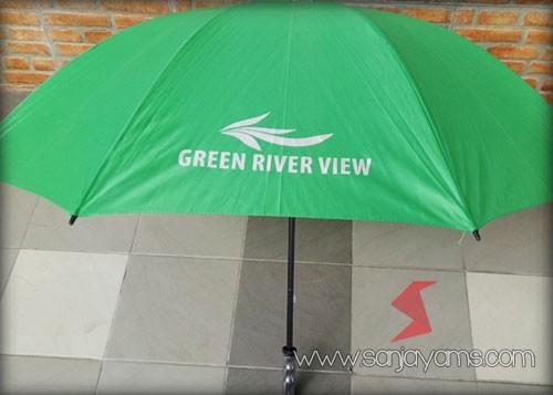 Sablon 1 warna silver untuk promosi Green River View