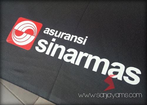Hasil sablon payung terbalik untuk Asuransi Sinarmas