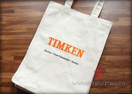 Tas kanvas natural dengan cetakan logo Timken