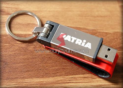 Hasil cetakan laser logo di USB
