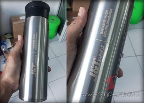 Hasil cetakan grafir di thermos silver