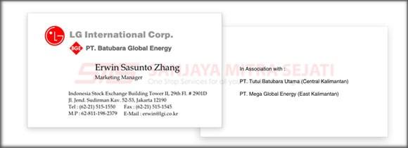 Kartu Nama PT Batubara Global Energy