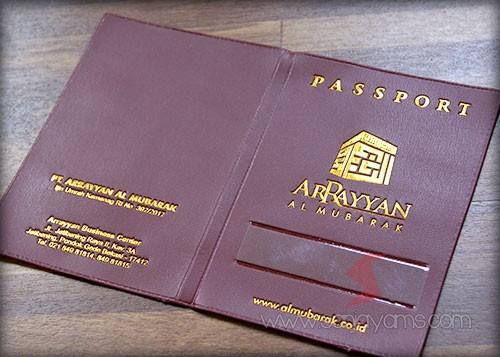 Cover paspor bahan marron cetak poly emas