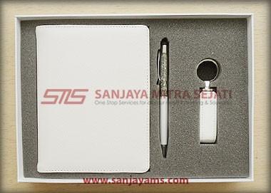 Memo kulit + pen + USB kulit
