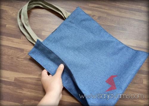 Goodie bag bahan jeans biru