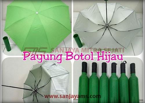 Payung botol warna hijau