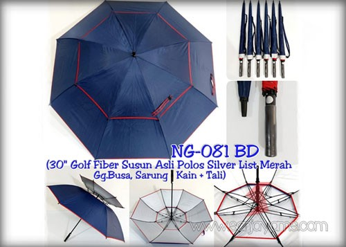 Payung golf fiber susun otomatis warna navy list merah