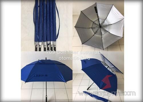 Payung golf fiber susun otomatis warna biru