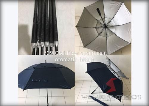 Payung golf fiber susun otomatis warna hitam