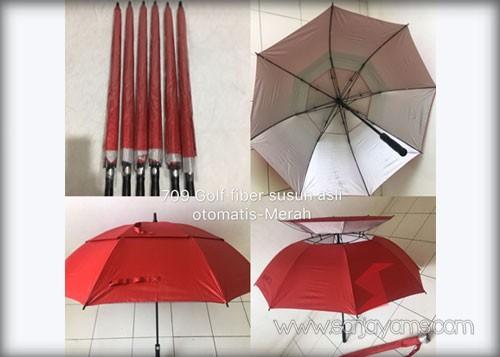 Payung golf fiber susun otomatis warna merah