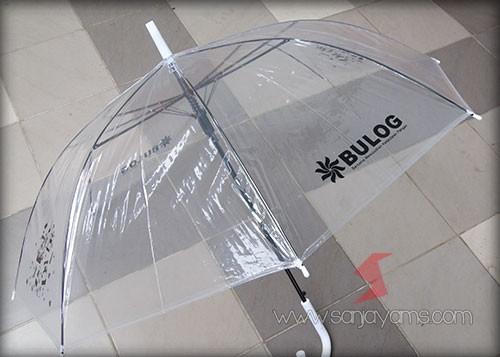 Hasil cetakan logo payung handle putih - Bulog