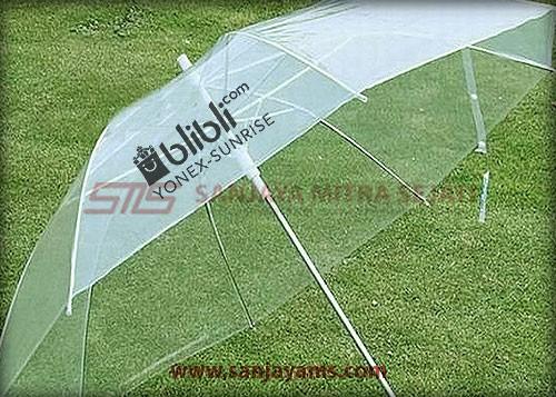 Cetakan di payung handle putih