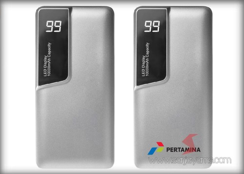 Hasil cetakan logo Pertamina pada powerbank (PP30)