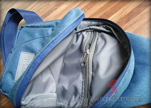 Detail bagian dalam tas sling bag