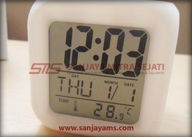 Tampilan jam, kalender & termometer