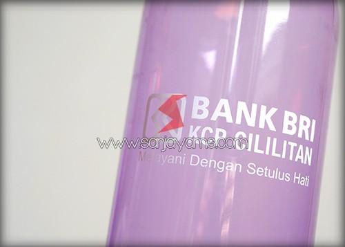 Hasil cetakan 1 warna di tumbler - Bank BRI