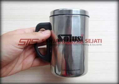 Mug Stainless Gagang Hitam